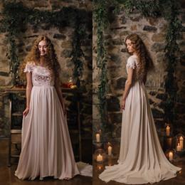Wholesale Short Corset Chiffon Dress - 2017 Stunning Country Wedding Dress Beach Weddign Dresses Short Sleeves Lace Top Corset Bridal Gowns Chiffon Skirt Sweep Train Custom Made