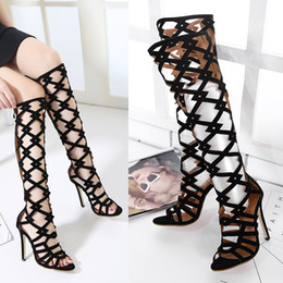 Wholesale Zip Up Dresses - Roman Gladiator Women Sandals 2017 Brand Design peep toe suede sandal High Heels Hollow Sexy party Thin heels Woman Shoes