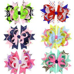 "Wholesale Blue Grosgrain Ribbon - 4.5"" hairbow with clip   Grosgrain ribbon bow"