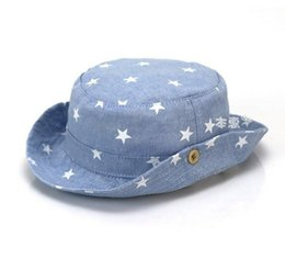 Wholesale Hat Fisherman - Wholesale 10 pcs Unisex Baby Flat Bucket Hats Children Star Printing Denim Fisherman Caps Spring Summer Sun Protective Hat MZ4252