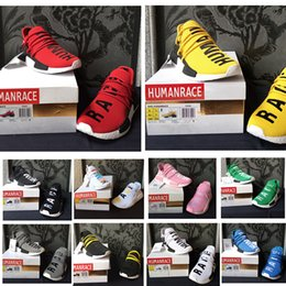 Wholesale Pw Blue - Cheap PW NMD Human Race Sneaker Mens Running shoes Black White Red Grey Pharell Williams Women Trainer size 36-45