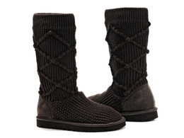 Wholesale Half Snow Boots Ladies - Winter Casual woman's Snow Boots Pure Color Round Toe Slip On Ladies Short Tube Knitting Wool Boots Warm Shoes Size: 36 -- 40
