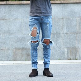 Wholesale urban jeans men - Wholesale-Urban Cool Mens Side Ankle Zipper Jeans Kanye West Skinny Stretchy Destroyed Distressed Knee Ripped Jeans With Holes For Men