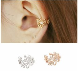 Wholesale Indian Ear Cuffs - High-grade ladies flowers set auger is ear pierced ear bones ear clip hanging cuff three colors you can choose