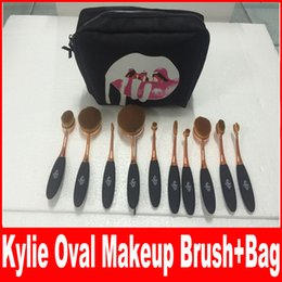 Wholesale Foundation Bb Cream - Newest HOT Kylie Oval Makeup Brush Rose Gold Cosmetic Foundation BB Cream Powder Blush 10 pieces Makeup Tools+bag DHL