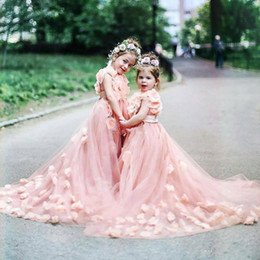 Wholesale Cheap Rhinestone Caps - Dusty Pink Flower Girls Dresses For Weddings With Handmade Flowers Sweep Train Tulle Girls Pageant Dress Lovely Cheap Kids Birthday Gowns