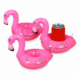 Wholesale Pool Can - Wholesale-Hot sale 5pcs Mini Cute Flamingo Drink Can Holder PVC Inflatable Floating Swimming Pool Bathing Beach Party Kids Toy