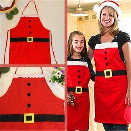 Wholesale New Years Celebration - Christmas Apron Decorations Christmas Party New Year Celebration Kitchen Aprons Holiday Button Apron Santa Cook Apron Xmas Day