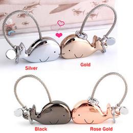 Wholesale Couple Keychain Kiss - 3D Kiss Whale Couple Keychain Keyring for Lovers Gift Trinket lovely - Key Holder Ring Women's Bag Pendant