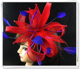 Wholesale Sinamay Mini Hats - Free shipping Sinamay hat fascinator mini hat feather & rhinestone for Derby,wedding,cocktail hat ascot races,kentucky derby, 6pcs lot L03