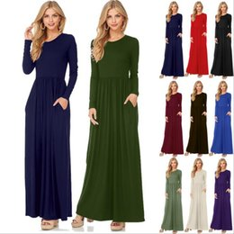 Wholesale Wholesale Polyester Maxi Dresses - Women Maxi Casual Dress Solid Color Long Sleeve Dresses Round Collar Long Sexy Elegant Dress 10 Colors 5pcs OOA3823
