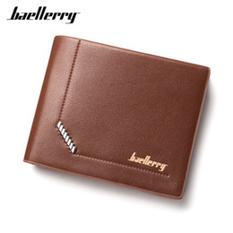 Wholesale Slim Wallet Lady - Hot Sale Quality Soft PU Leather Vintage Men's Wallets 3 Folds Slim Male Purses ID Credit Card Holder Dollar Wallet Carteira