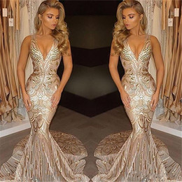Wholesale Unique Custom - African 2018 Luxury Gold Mermaid Prom Dresses Unique V Neck Sexy Prom Gowns Vestidos Special Occasion Dresses Evening Wear Party Gowns