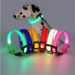 Wholesale Led Flashing Lights For Dogs - Christmas gifts LED Light Nylon Color Night Adjustable Flashing Pet Collar For Dog Safety Cat S M L