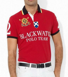 Wholesale Watches Polo - 2017 New Fashion Polo Shirt Men Black Watch Classic Tees Casual Custom Fit Short Sleeve Cotton Big Horse Polo Team T-Shirts Free Shipping