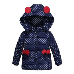 Wholesale Baby Girl Overcoat - Baby Girls Winter Minnie Dotted Overcoat Children Thick Coat Children Clothes Outwear Cotton Jacket Infant Boy Hooded Jacket For 90-110