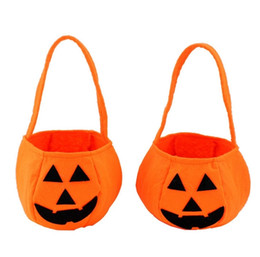 Wholesale halloween pumpkin bucket - New Children Baby Kids Halloween Pumpkin Bag Kids Handbag Bucket Child Funny Candy Gift Bag Wholesale Party Accessories MX-002