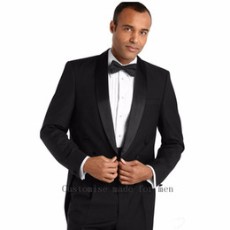 Wholesale Tailcoat Bow - Wholesale- Morning Style 2016 Black Formal Party Suit Groomsmen Tuxedos For Men Tailcoat Groom Wedding Suits Bridegroom (Jacket+Pants+Bow)
