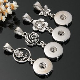 Wholesale Gray Statement Necklace - 2017 NEW 18mm Chunks 12pcs lot Mix Designs Fashion Statement Metal Ginger Snap Button Pendant Accessories Without Chain