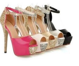 Canada Glitter cheville sangle haute plate-forme peep toe pompes soirée de bal robe de mariage chaussures femmes talons hauts de la taille 34 à 39 supplier high heeled shoes gowns Offre
