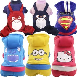 Wholesale Totoro Costume Days - 1115005 Pet Cartoon Costume winter warm Dog hoodie superman Cotton-padded Clothes Totoro Suit for Puppy Dogs Christmas Party Outfit XS-XXL
