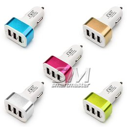 Wholesale Iphone Car Dock Charger - High quality Universal Triple USB Car Charger Adapter USB Socket 3 Port Car-charger For iphone Samsung HTC