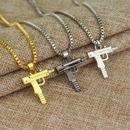 Wholesale Pistol Pendants - 60PCS Lot Mix color Hip hop long necklace Gold Rose Plated Pistol Uzi Gun Pendants & Necklaces HipHop Gun Necklace for Men Women Party