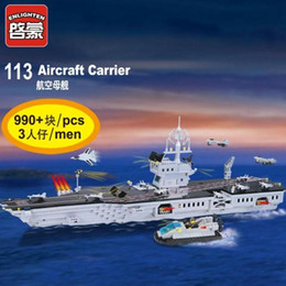 Wholesale Enlighten Aircraft - Enlighten Military Series Super aircraft carrier 113 Building Blocks Mind Hands Active Model Assemble Eductional Toys Gift Legeo Compatible