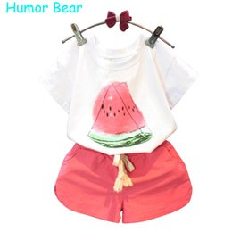 Wholesale Fruit T Shirts - Wholesale- Humor Bear Summer Baby Girls Clothes Set Children'S Clothing Fruit T-Shirt + Shorts Suit Clothing Set Girls Suits
