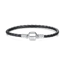 Wholesale men pandora bracelet - New 925 Sterling Silver factory price Original Black Leather fit pandora Charm Bracelet Compatible Charm Bead For Women Men DIY Jewelry