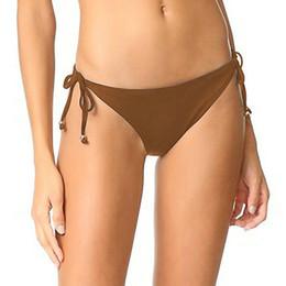 Wholesale Cheap Swimming Briefs - 2017 summer brown swim wear tether Triangle bikini women briefs pluse plus big size cheap high quality wholesale coffee lady swimsuit