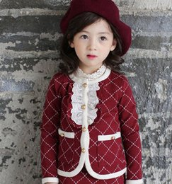 Wholesale Girls Mandarin Collar - Children outfits lady style girls lace falbala collar long sleeve outwear+plaid skirt pants 2pcs sets Autumn new kids princess sets A0164