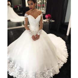Wholesale wedding bridals - 2017 New Off The Shoulder Ball Gown Wedding Dresses Organza Lace Long Sleeves Sweep Train Bridals Gowns robe de mariee