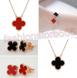 Wholesale Golden Clover - fashion 925 Clover Pendant Necklace Bracelet Earrings Black Agate Red Jade White Shell Jewelry Sets Gold Rose Gold Silver Chains