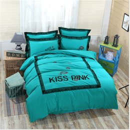 Wholesale Goose Quilts - PINK Duvet Cover Set Solid Color Letter Embroidery Lace Quilt Cover Bed Sheet PillowCase Quilt Cover Sets Thicken For Autum Winter
