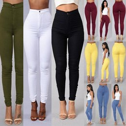 Wholesale Button Hole Elastic - Hit Underpant Thin Section High Waist Elastic Force Pencil Pants Close Candy Color female robin hole silver Jeans for women suspenders