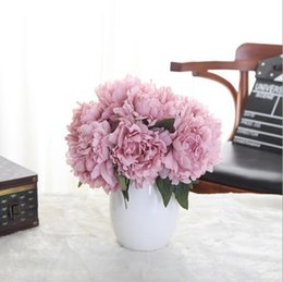 Wholesale Silk Flower Peony Centerpieces - 6 colors charming peony bridal flower bouquets artificial silk flowers for wedding party centerpieces wreath garland home decoration