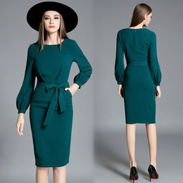 Wholesale New Style Professional Dresses - The new women's fashion 2017 elegant sleeve sleeve in the long sleeve of the professional bag l green dress