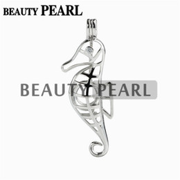 Wholesale 925 sterling horse pendant - 5 Pieces Gift Sea Horse Pearl Cage Pendant Mounting Wish Love Pearl 925 Sterling Silver Cages