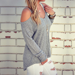 Wholesale Cut Out Knit Sweater - Wholesale- Cold Shoulder Thermal Top 2016 New Grey Plain Cut Out Round Neck Fashion Cotton Shirt Sweater Halter Top