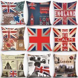 "Travesseiro inglaterra on-line-Atacado- 1pc Euro estilo almofadas baratas Inglaterra londres Imprimir Almofada Decorativa Throw Pillow 18 ""Vintage Cotton Linen Quadrado MYJ-B1"