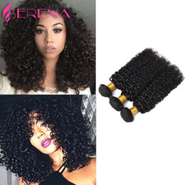 Wholesale Unprocessed Deep Curl Malaysian - 7A Brazilian Deep Curl Wave 100% Human Hair Weave Hair Extensions Unprocessed Hair Wefts Natural Color Can Be Dyed 3pcs lot Free Shipping