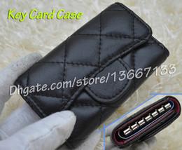 Wholesale Key Chain Cases - Comeinu9 Wome's Cute Key Card Case Genuine Lambskin Mini Key Wallets Black Caviar Card Holder Female Purse pouch come with box