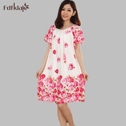 Wholesale White Cotton Nightgowns Wholesale - Wholesale- Plus Size Nightgowns For Women Long Cartoon Girls Nightshirts Nightdress Cotton And Silk Sleepshirt Summer Dressing Gowns E0021