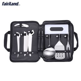 Wholesale Bbq Stainless Kitchens - Portable outdoor camping hiking tools 8 pcs cooking tools set picnic kitchen supplies BBQ stainless steel tools with replaceable handle