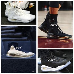 Wholesale Mvp Shoes - 2017 New Hot Stephen Curry 4 for Basketball Shoes Black Gold MVP CHAMPIONSHIP Training Men Sports Sneakers Basketball Shoe Size 40-46