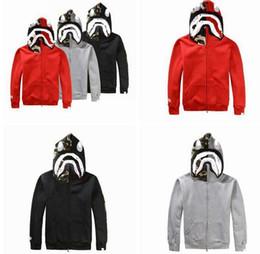 Wholesale Cartoon Sweaters Men - Japanese styles Shark Hoodie Men Women fashion Harajuku Cool fun Cartoon Sweater Jacket WGM Full Zip Hoodie Fleece Cardigan Sweatshirt Coat