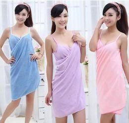 Wholesale Girls Fashion Towels - 1000Pcs Bath Towels Fashion Lady Girls Wearable Fast Drying Magic Bath Towel Beach Spa Bathrobes Bath Skirt