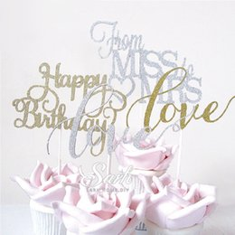 Wholesale Wedding Cake Bling Decorations - Wholesale- 5 pieces lot Bling Gold Sliver Mr Mrs Miss Love Happy Birthday Insert Cards Cake Decoration Wedding Birthday Party Lovely Gift