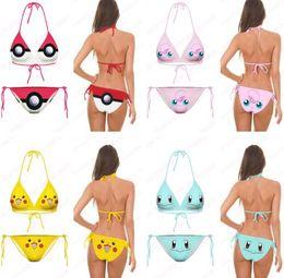 Wholesale Animal Smileys - Fashion Bikini Set Girls Squirtle Swimsuit Cute Smiley Face Beachwear 3D Print Jigglypuff Pattern Two Piece Swimwear Good